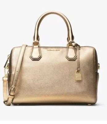 New MICHAEL KORS MD Mercer studio collection leather Mk DUFFLE Pale Gold BAG 53d3eac1c26ac