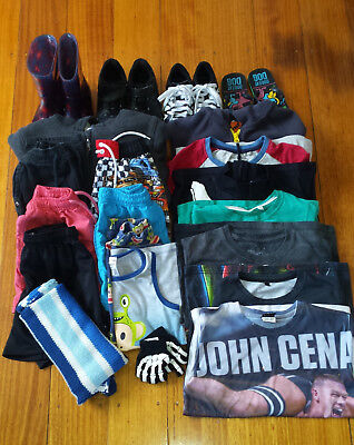 Bulk pack of over 15 items boy's clothes, includes tops, shorts & shoes