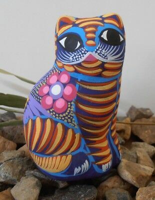 Handpainted clay CAT Figurine accessory pottery ornament Mexican folk art
