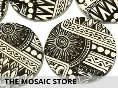 Set of 2 Black & White 5cm Ceramic Circles - Mosaic Art Craft Supplies
