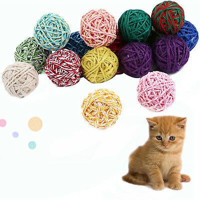 Pet Cat Kitten Feather Sisal Ball Colorful Mouse Scratching Chew Toys HIGH