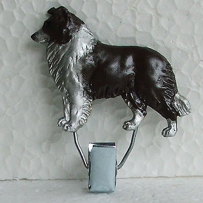 Border Collie Chocolate White Show Ring Clip Dog Breed Jewellery Handpainted