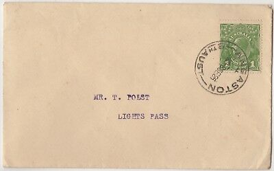 """KGV 1d green SW on 1926 cover, """"ANGASTON"""""""