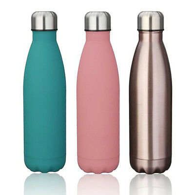 Double Walled Vacuum Insulated Stainless Steel Water Drinks Sport Bottle UK