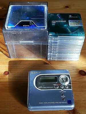 SONY MZ-NH600 Hi-MD Portable Minidisc Recorder + 1x Hi-MD Disc + 10x Minidiscs