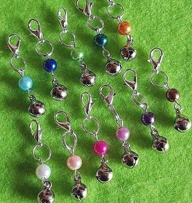 Cat Collar Clip On Charms Small Coloured Pearl With Jingly Bell + Free Gift Bag