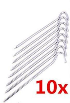 Tent Pegs 23 cm Metal Chromed 10 Pieces Ground Stakes Nail Pins Camping Hiking