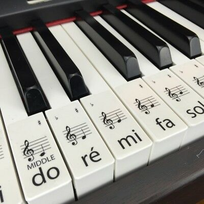 PIANO LEARN Solfège CLEAR Keyboard / Piano Stickers SET up to 61 KEYS