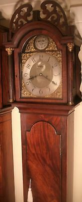 "Antique Mahogany Brass Dial "" York "" Automata Longcase / Grandfather Clock"