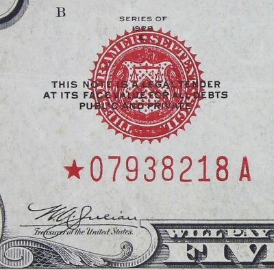 $5 1928E Star large red seal US Note *04480674A five dollar, series E, FREE SHIP