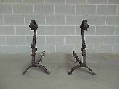 """Antique Pair Large Hand Forged Andirons 28""""H x 30""""D"""