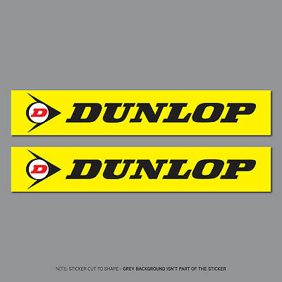 2 x Dunlop Stickers - Decals - Motorcycle - Car - Truck - 200mm x 35mm - SKU2673