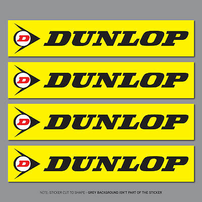 4 x Dunlop Stickers - Decals - Motorcycle - Car - Truck - 100mm x 20mm - SKU2674