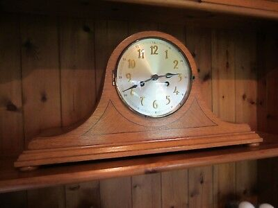Oak cased vintage Napoleon Hat Mantel Clock