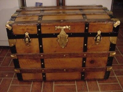 Ladycomet Victorian Refinished Flat Top Steamer Trunk Antique Chest w/Key