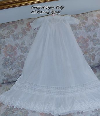 Lovely Victorian/Antique Christening Baptism Gown/Dress/French Net Lace/Embr/31""