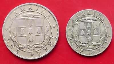 Two Coins From Jamaica / One 1919 Penny / One 1920 Halfpenny
