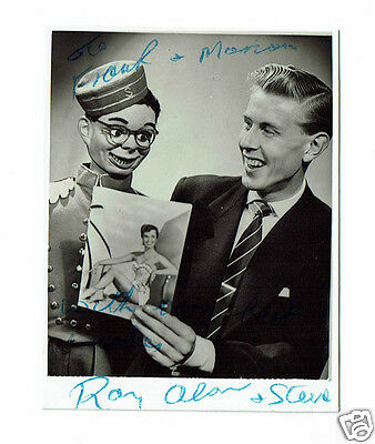 Ray Alan and Steve Early Ventriloquist act Rare Hand Signed Photograph 3 x 2