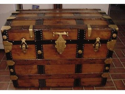 Ladycomet Victorian Refinished Flat Top Steamer Trunk Antique Chest w/Key & Tray
