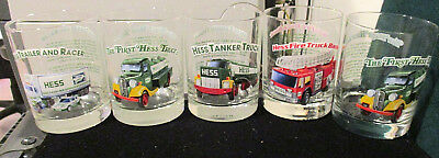 Lot Of Five Hess Truck Drinking Glasses - 1966 Classic Truck Series