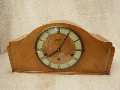 Vintage Junghans Westminter Chime Light Wood Mantel Clock For Tlc