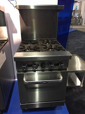 "New Heavy 24"" Range 4 Burners With 1 Space Saver Oven Stove  Natural Gas Only"