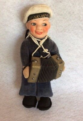 Rare German Navy Sailor Cloth Doll playing accordion-hat marked Dusseldorf 1937