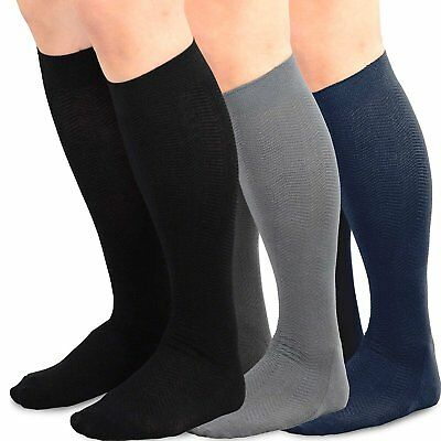 TeeHee Men's Bamboo Dress Over the Calf Socks Assorted Color 3-pack Black, Grey,