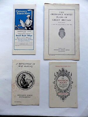 1930/31 4x Ordnance Survey Map Leaflets Physical Waterproof Plans Old Antique OS