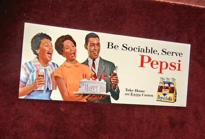 1950s Pepsi-Cola cardboard sign~African American group~birthday party