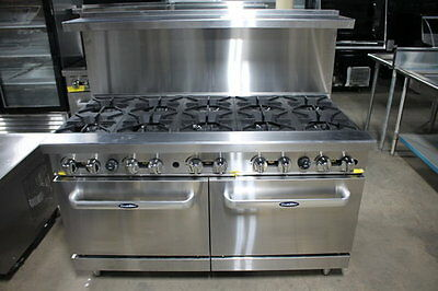 "New Heavy 60"" Range 10 Burner With 2 Full Ovens Range Stove Natural Gas Only"