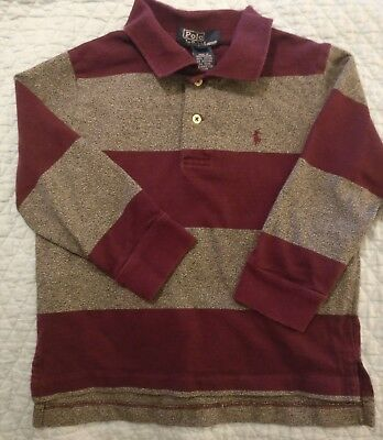 Ralph Lauren Polo Boys Striped Maroon Gray Shirt Size 4T 4