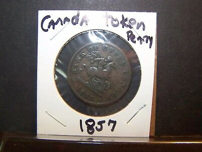 Beautiful -Extremely Rare- Bank Of Upper Canada -1857-Penny Token -Really Nice!