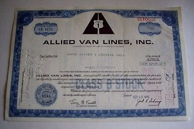 Allied Van Lines, Inc., 100 Shares Of Class B Common Stock Certificate, 9-23-76