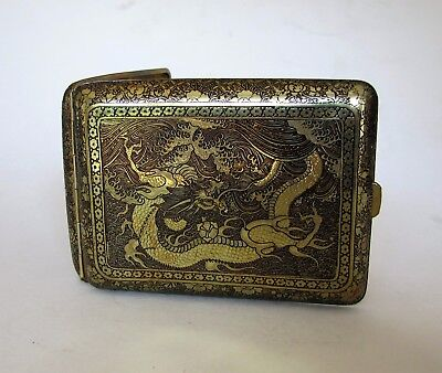 Antique Golden Brass Oriental Chinese Dragon Pagoda Scene Cigarette Money Case