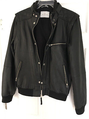 Urban Outfitters Your Neighbors Men's Leather Bomber Jacket, Size Small, Black