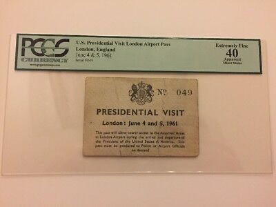 June 4 & 5, 1961 President John F. Kennedy London Presidential Visit Ticket PCGS
