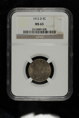 1912 D Liberty Head Nickel  5C Ngc Certified Ms 63 Mint State Unc (008)