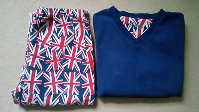 Boys Union Jack Fleecy Pyjamas Age 11-12 years.