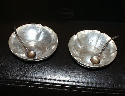 Vtg Hammered Coin Silver Salt & Pepper Bowls with Sterling Silver Spoons