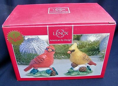 Lenox  Christmas WINTER GREETINGS Salt Pepper Cardinal on PINE CONES New w/ Box