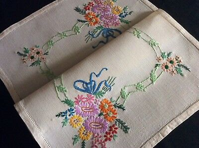 Lovely Vintage Linen Hand Embroidered Tray Cloth ~ Florals/ribbons