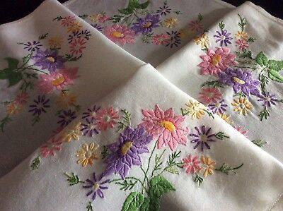 Pretty Vintage Hand Embroidered Tablecloth ~ Lovely Raised Florals