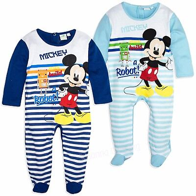 Disney Mickey Mouse Baby Boys 100% Cotton Sleepsuit Baby grow Pyjamas pjs 2017