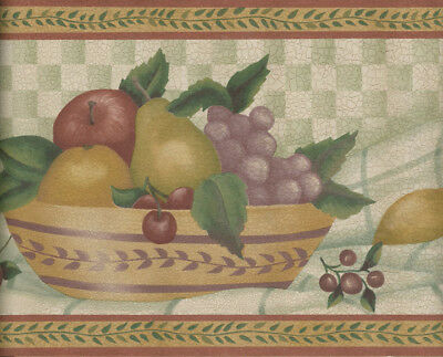 STACKED CHEESE BOXES GB30315 BOWLS COUNTRY FRUIT WALLPAPER BORDER WITH BASKETS