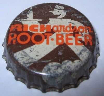 RICHARDSON ROOT BEER SODA POP BOTTLE CAP; ROCHESTER, NY; USED CORK, different