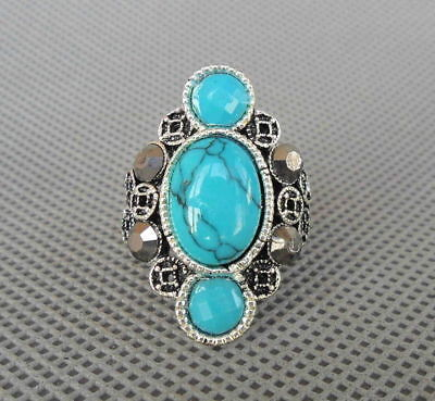 Collectible Handwork Miao Silver Inlay Turquoise Carved Flower Wealth Lucky Ring