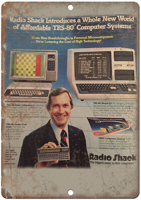 """Radio Shack TRS-80 Computer System 10"""" x 7"""" Reproduction Metal Sign"""