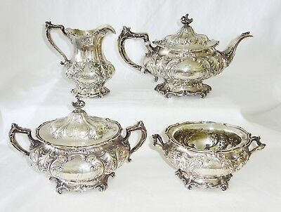 4Pc 1915 US Sterling Silver Tea Service A6422-25 by Gorham (Kow)