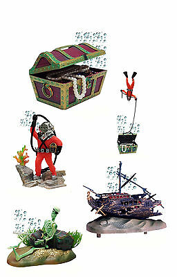 Aquarium Air Action Ornaments Decoration 5 x Designs Fish Tank Tropical Marine